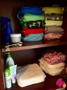 cabinet with cloth diapers and accessories