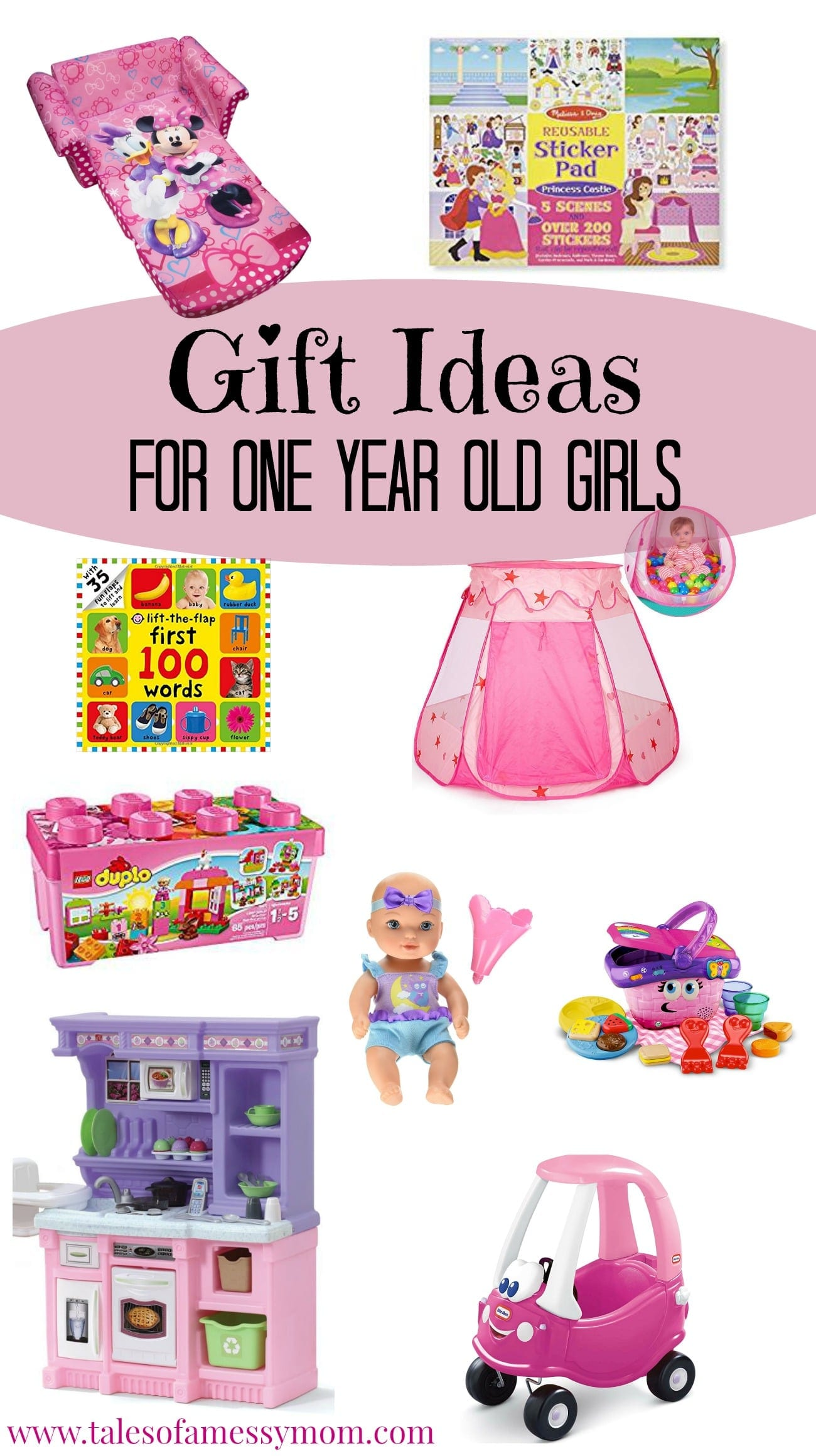 Looking for the perfect gift for that special little one year old princess in your life? Look no further; Here are 11 gift ideas that are sure to win with your little girl. http://www.talesofamessymom.com